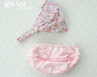 Kids beach wear Set, Girl Swimsuit, little girls Pink checkered Swimsuit, Girl Bottom Swimsuit, Beach Headband for baby girl and Toddler
