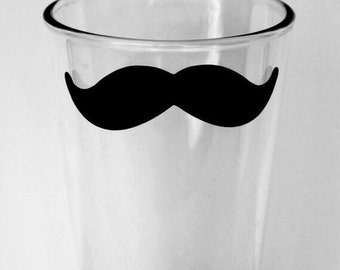 Mustache Pint glass, Wedding Groom Groomsmen Gift