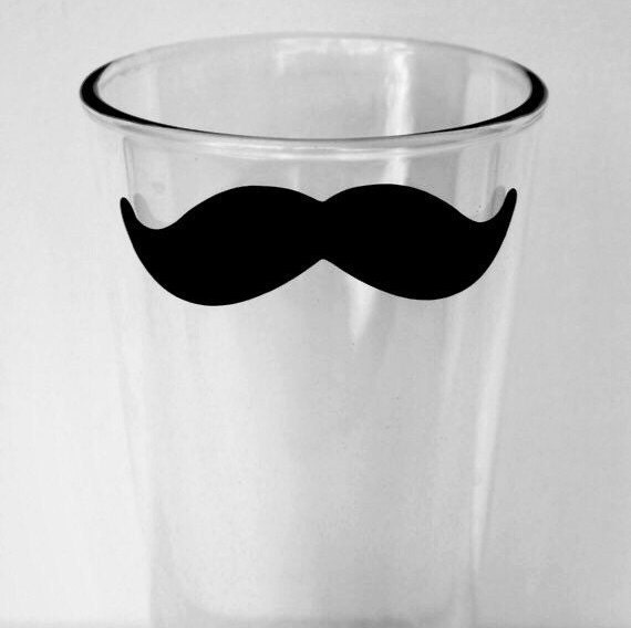 Mustache Beer Pint glass, personalized, add a name or date