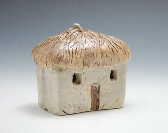 Small Ceramic Sculpture of  thatched cottage, hand built, Irish inspired, Christmas Village, Mantle Display, whimsical Accent