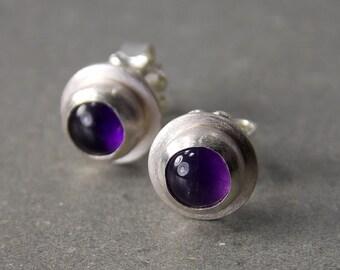 Gemstone Post Earrings, Amethyst Post Earrings, Sterling Silver Stud Earrings