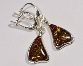 Baltic Amber Earrings Gemstone Earrings Drop Earrings Sterling Silver Earrings