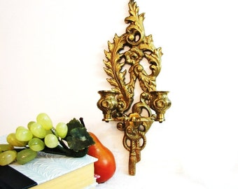Brass Candle Wall Sconce, Vintage Baroque Double Candlestick Tassel, Open Scrollwork, Taper Candle Holders ... Hollywood Regency, Glam