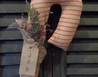 Large Primitive Handmade Fabric Candy Cane Door Greeter/Peg Hanger - Christmas