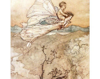 Fairy Print - Peter Pan Kensington Garden - Flies with Faerie - Arthur Rackham