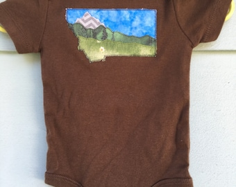 Big Sky Baby, Montana Love mountain baby onesie, brown short sleeve, 6-9 months, Glacier National Park, OOAK