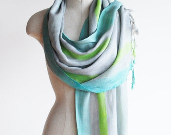 Sand and sea spring scarf, hand dyed, fringed scarf, blue green grey shawl