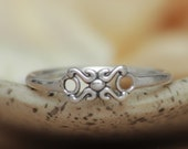 Delicate Script X and O Ring in Sterling - Silver Hugs and Kisses Ring - Love Symbol Ring - Unique Promise Ring - Sterling Silver Love Token