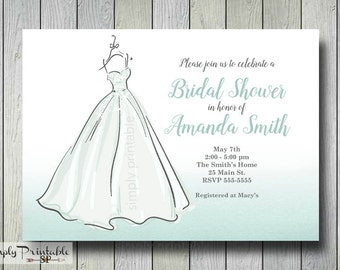 Bridal Shower Invitation,Wedding Dress, Blue Aqua Ombre, Bridal Shower Invite, Baby Shower Invitation, Printed Invites, Birthday