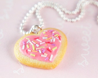 Food Jewelry - Heart Sugar Cookie Necklace  - (silver plated ballchain)