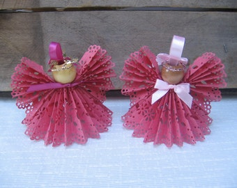 Pink Angel Christmas Ornament, Paper Lace Ribbon Angel, Tree Ornament, Secret Santa, Christmas Decor SnowNoseCrafts