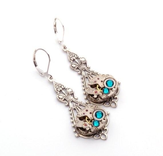 DECEMBER Steampunk Earrings, BLUE ZIRCON Steampunk Earrings, Vintage Watch Earrings, Steampunk Wedding Jewelry by Victorian Curiosities
