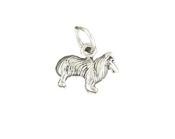 Sheltie Collie Dog Charm Pendant mini Sterling Silver 925