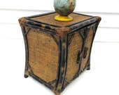 RESERVED for Rosemary Vintage Bamboo Chest,  Small Wicker Cabinet, Rattan Side Table,  3 Tier Shelf Stand