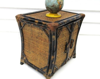 Vintage Bamboo Chest,  Small Wicker Cabinet, Rattan Side Table,  3 Tier Shelf Stand