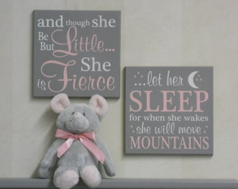 Baby Girl Nursery Decor Sign Pink Gift- let her sleep for when she wakes she will move mountains, and though she be but little she is fierce