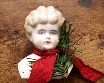 Vintage Porcelain Doll Head - Handpainted with Blonde Hair
