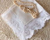 Vintage Wedding Handkerchief - Bride, Vintage Glamour, Something Old, Eco Friendly Linen, Bridal Accessory, Collectible, Gift:  BBD-807
