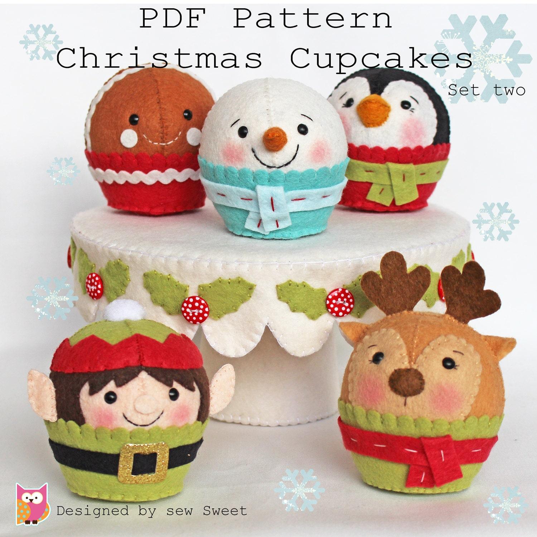 Christmas cupcakes set two pdf pattern felt cake felt - Figuras fieltro navidad ...