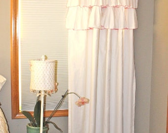 Shades Up & Co Heirloom Ruffled Curtains 100% Washed Cotton Triple Ruffle Contrast SIGNATURE Hem