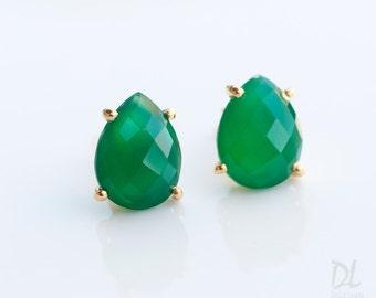 Green Onyx Stud Earrings - Gemstone studs - Gold Stud Gemstone Earrings - Tear drop Stud - Prong Set studs