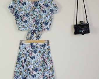 Floral 90s Print Crop and Matching skirt tie up Summer Festival Twinset