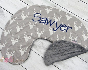 Personalized Nursing Pillow Cover- Buck Print and Grey Minky