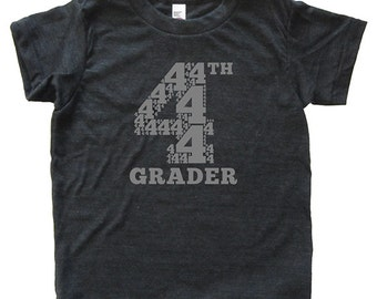 4th Grader - Back To School / First Day of School Tshirt for Fourth Grade - Youth Boy / Girl Shirt / Super Soft Kids Tee Triblend Clothes