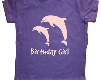 Birthday Dolphin Shirt - Dolphin Pair Birthday Girl Tee - Dolphins Shirt - 7 Colors - T shirt Sizes 2T, 4T, 6, 8, 10, 12 - Gift Friendly