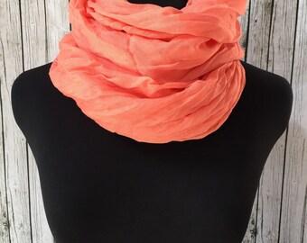Lightweight crinkle scarf in peach
