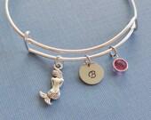 Mermaid Bracelet, Mermaid Bangle,Initial Bangle,Silver Bangle,Personalized,Expandable,Charm Bracelet,Birthstone Bracelet,BFF Friend,Birthday