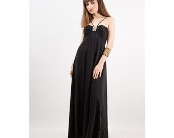 Vintage maxi dress / Mike BENET / 1970s American Hustle gown / Black jersey gown S
