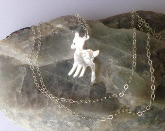 Pearl Deer Fawn Necklace, Sterling Silver chain