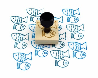 Rubber Stamp Fish Pattern - Summertime Geometric Hand Drawn Tropical Fish Stamp - Ready to Ship / In Stock