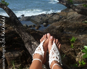 Crochet Sandals Barefoot Pattern PDF - summer bikini accessories - Sandles sea nude shoes - Instant Download