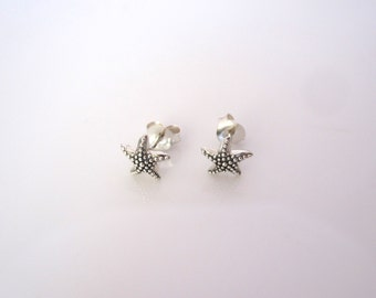Pair of sea STAR FISH starfish sterling silver stud earrings, womens, girls, marine earrings