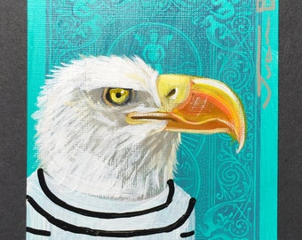 Bald Eagle portrait on a playing cards. Original acrylic painting. 2013