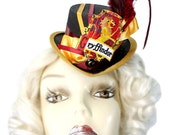 Mini Top Hat Gryffindor Harry Potter Inspired Victorian Steampunk Fascinator Cocktail Cute