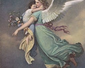 To God in Heaven- 1900s Antique Postcard- Guardian Angel- W V Kaulbach- Victorian Painting- Fine Art Card- Stengel Co- Moon- Paper Ephemera