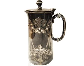 Victorian Pewter Coffee Pot Hot Water Jug, John Gilbert & Sons, Birmingham, England c.1860