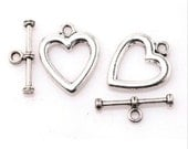 Antique Silver Metal Heart  Style Toggle Clasp destash collection SALE USA