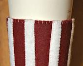 Burgundy & White Stripe Felt Cup Cozy