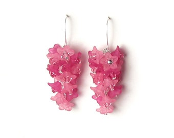 Pink Lilac Flower Earrings, Swarovski Crystal Cascading Floral Cluster, Romantic Spring Floral Wedding Jewelry Gift For Women, Silver Dangle