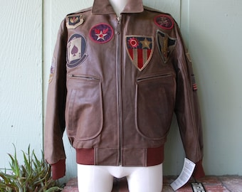 Vtg NOS Mens Small/Medium Excelled Genuine Leather Bomber Aviator Flight Biker Jacket Coat USA Zip Up Military Embroidered Patch Combat Moto