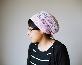 Pink Lace Snood Headcovering | Women's Headcovering Veil