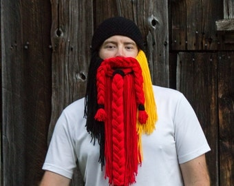 Beanie Hat with Beard Teen or Adult Size - MADE TO ORDER - Long Beard Hat, Costume Hat, Super Fan, Tailgate Gear, Ski Gear, Winter Hat
