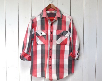 Buffalo Plaid Shirt Early 90s Vintage Cotton Flannel Shirt Jacket Red Gray White Medium Large