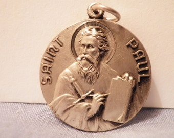 Saint PAUL Vintage Jewelry Religious Medal Pendant on 18 inch sterling silver rolo chain