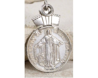 Our Lady of Saint Martin Vintage Silver Religious Medal Pendant on 18 inch sterling silver rolo chain