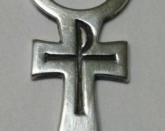 Vintage Sterling James Avery PAX Cross Religious Pendant on Black Satin Cord